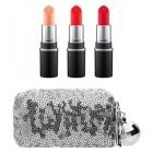 ست سه رژ لب و کیف آرایشی پولکی مک MAC Snow Ball Mini Lipstick Kit Cool